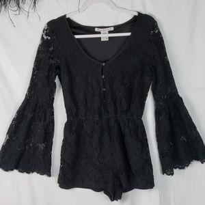 AMERICAN RAG black lace bell sleeve romper medium